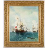 19th Century French school, 'A Naval Encounter', oil on canvas, warships firing at close quarters,