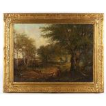 19th Century English School, tree-cutter in the landscape, oil on canvas, 40 x 60cm, framed