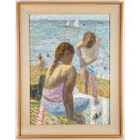 John Reay (1947-2011) 'Figures at the Beach', oil on board, exterior scene, signed, 75 x 55cm,
