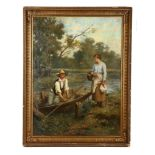 Francois Lafon, a riverside view of a gentleman in a punt courting his female companion, oil on