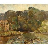 J.B. Harrison (British, early 20th Century), 'The Swale at Easby, Yorkshire', oil on canvas,