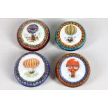 A set of four Murano glass 'Hot Air Balloon' paperweights, circa 1980, the centre of each