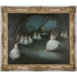L. Edwards, mid 20th Century, 'Giselle', ballerinas performing on stage, oil on canvas, signed lower