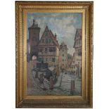 Elias Bancroft (1846-1924), 'Rottenburg on the Tauber, Bavaria', large oil on canvas street scene,