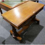 A Victorian mahogany library table, late 19th century, fitted with two drawers, raised on turned end