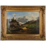 19th Century German school, 'An Alpine View', an oil on canvas landscape, labels verso, 47 x 68cm,