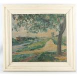 Early 20th Century Continental School, impressionist Plein-air riverscape, oil on canvas,