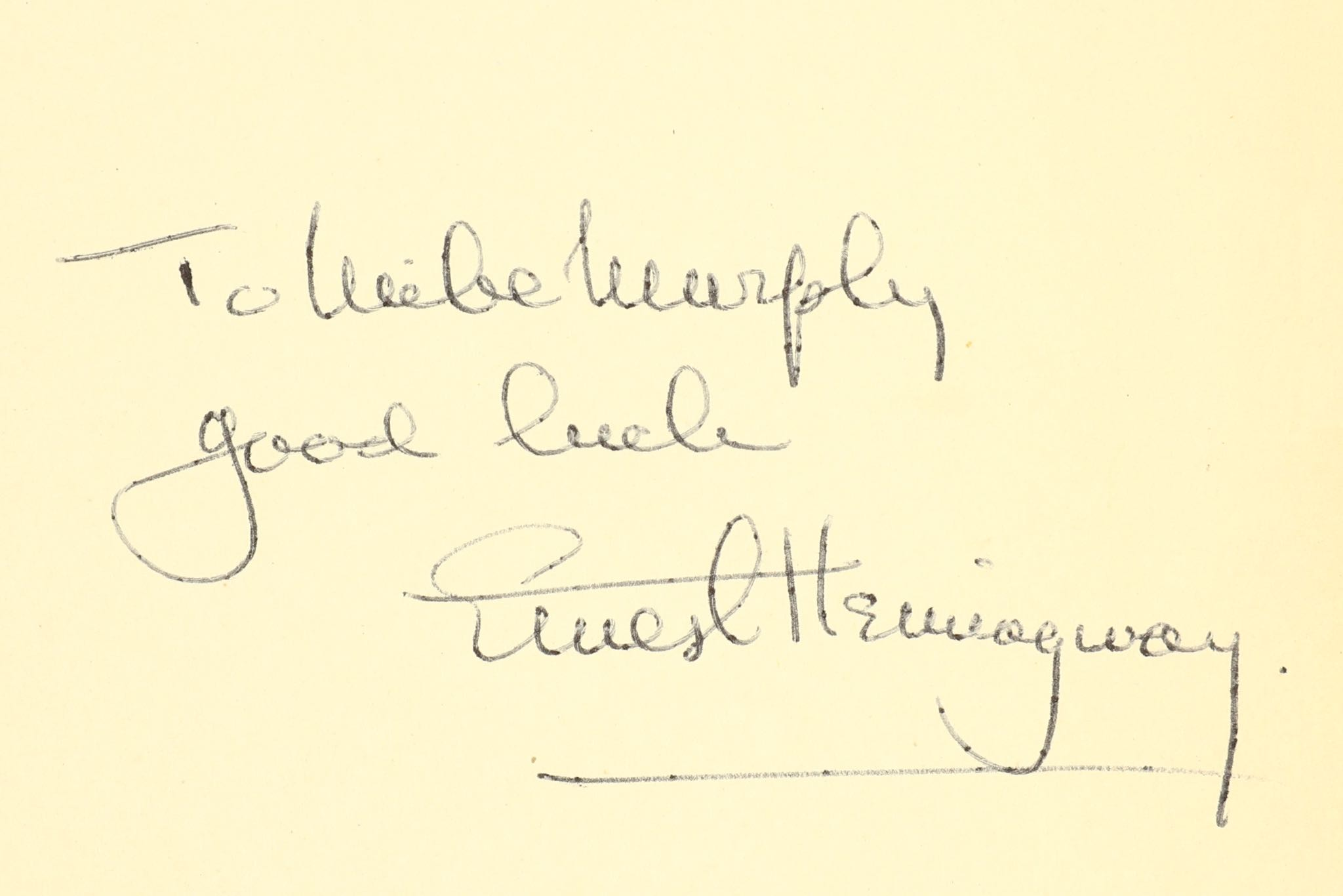 Lot 47 - Hemingway (Ernest) A Farewell to Arms, FIRST EDITION, inscribed by the author 'To Mike Murphy,