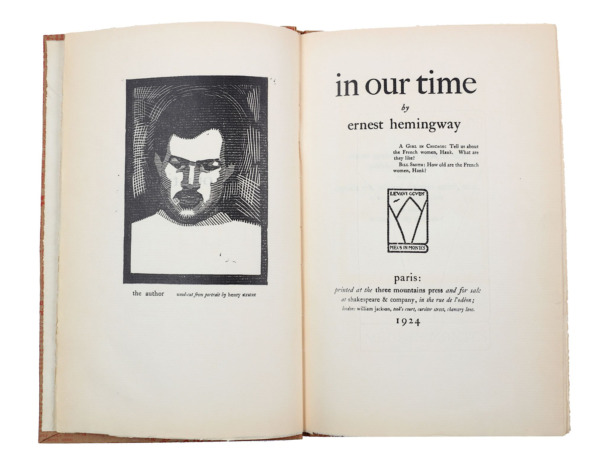 Lot 46 - Hemingway (Ernest) In Our Time, FIRST EDITION, NUMBER 137 OF 170 COPIES on Rives handmade paper,
