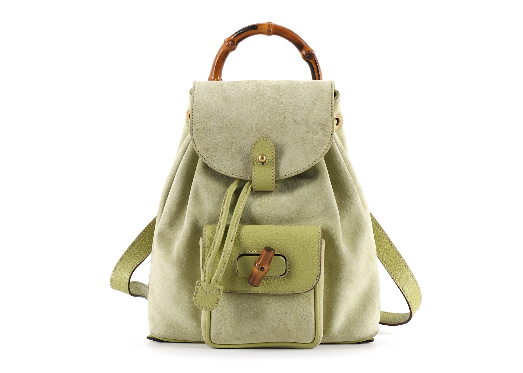 20a0fc02d73f3c Gucci Green Small Suede Bamboo Backpack, 1990s, suede body with ...