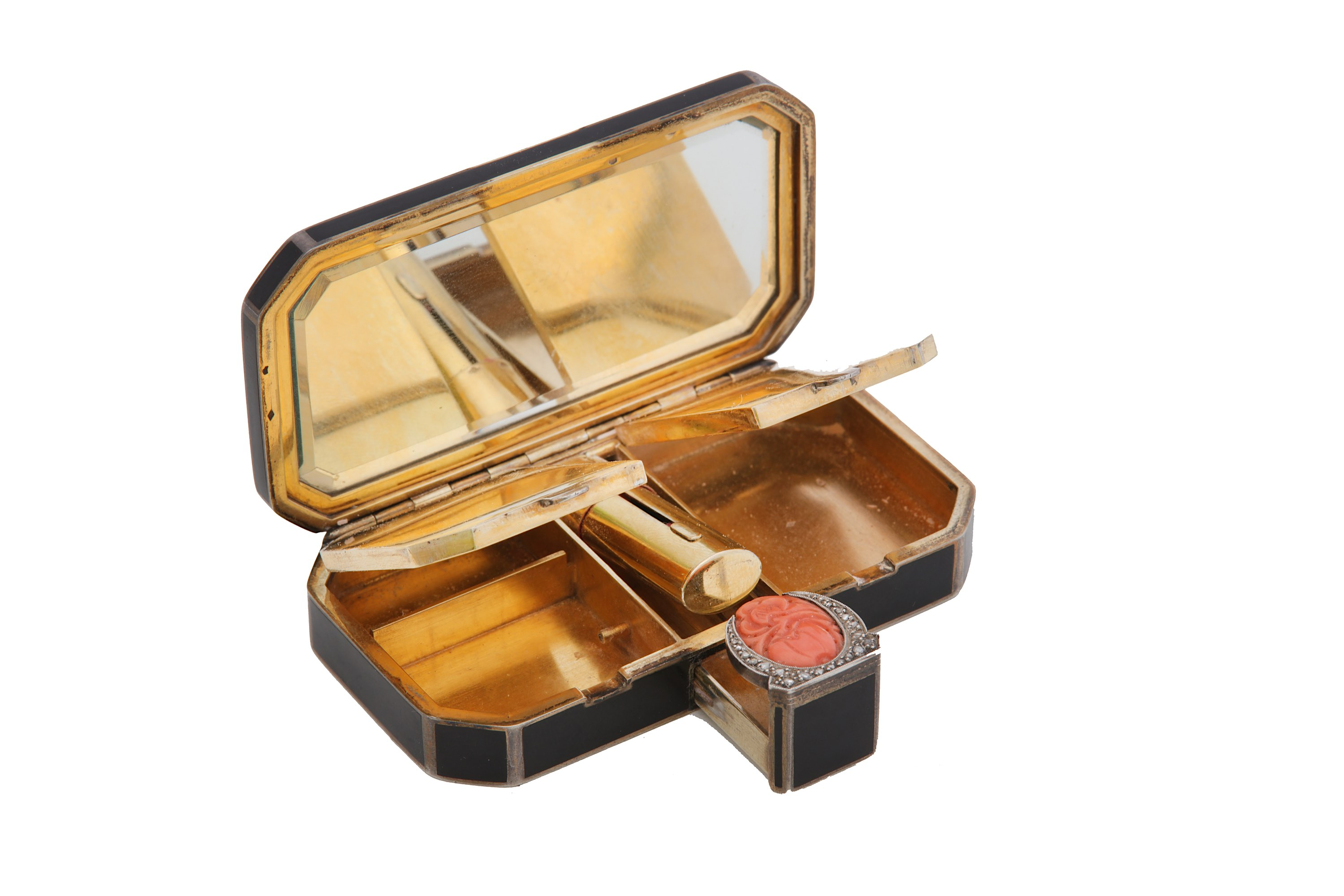 Lot 21 - A French Art Deco silver-gilt and black enamel compact, circa 1925 maker's mark AP with device betwe