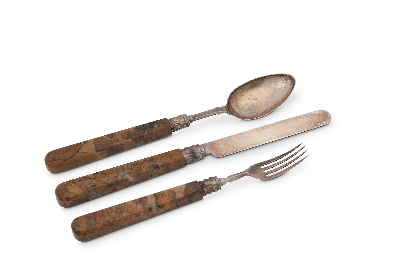 Lot 37 - An unusual Victorian travelling spoon, fork and knife set, jasper handled, Birmingham 1861 by Hillia
