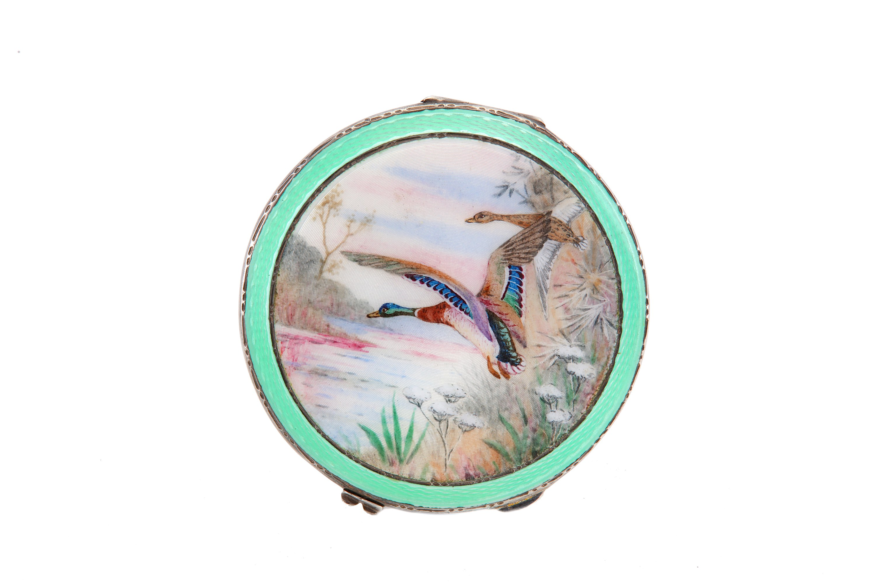Lot 8 - A George VI sterling silver and guilloche enamel compact, Birmingham 1937 by Henry Clifford Davis
