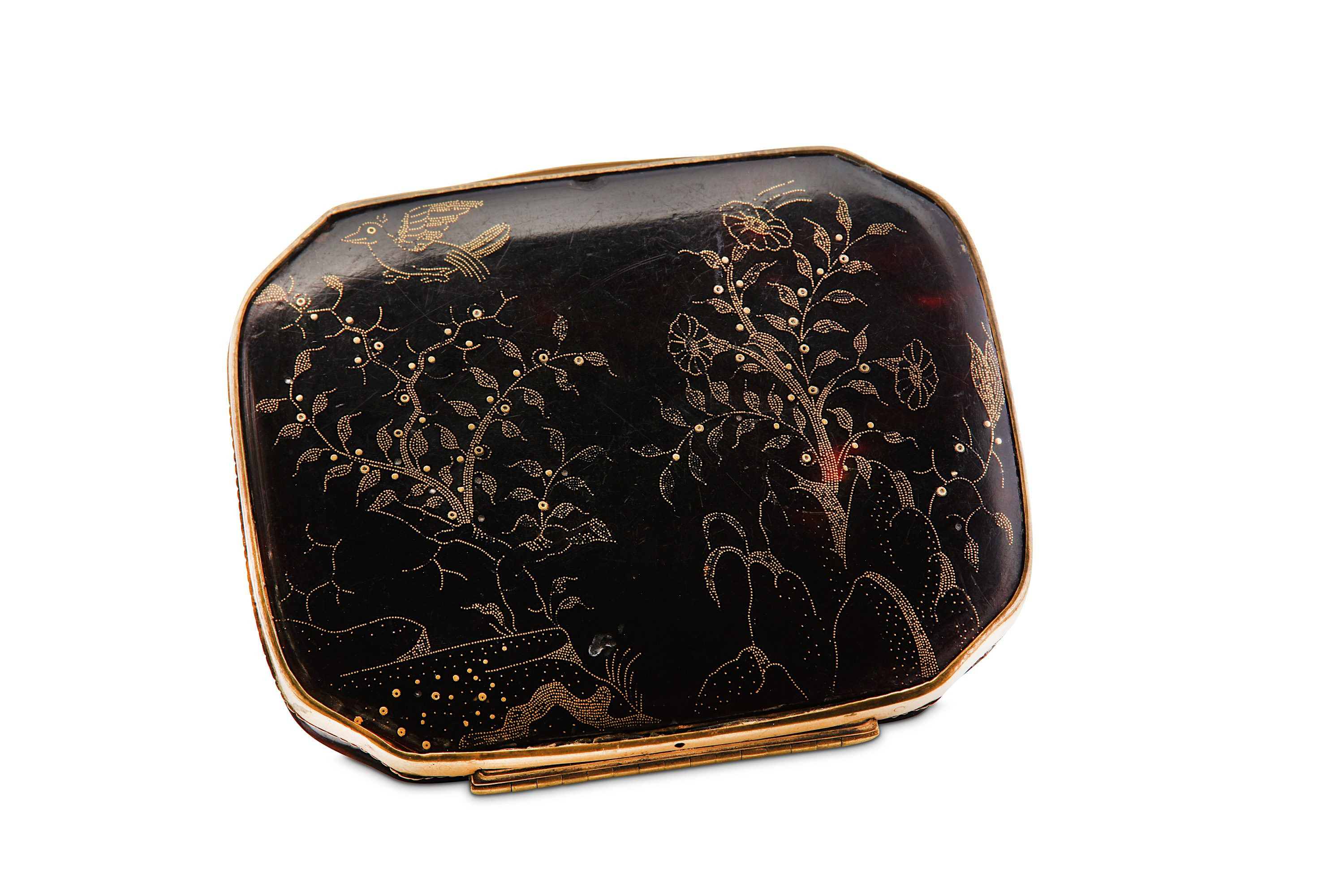 Lot 53 - An early 18th century tortoiseshell and gold pique work snuff box continental circa 1710