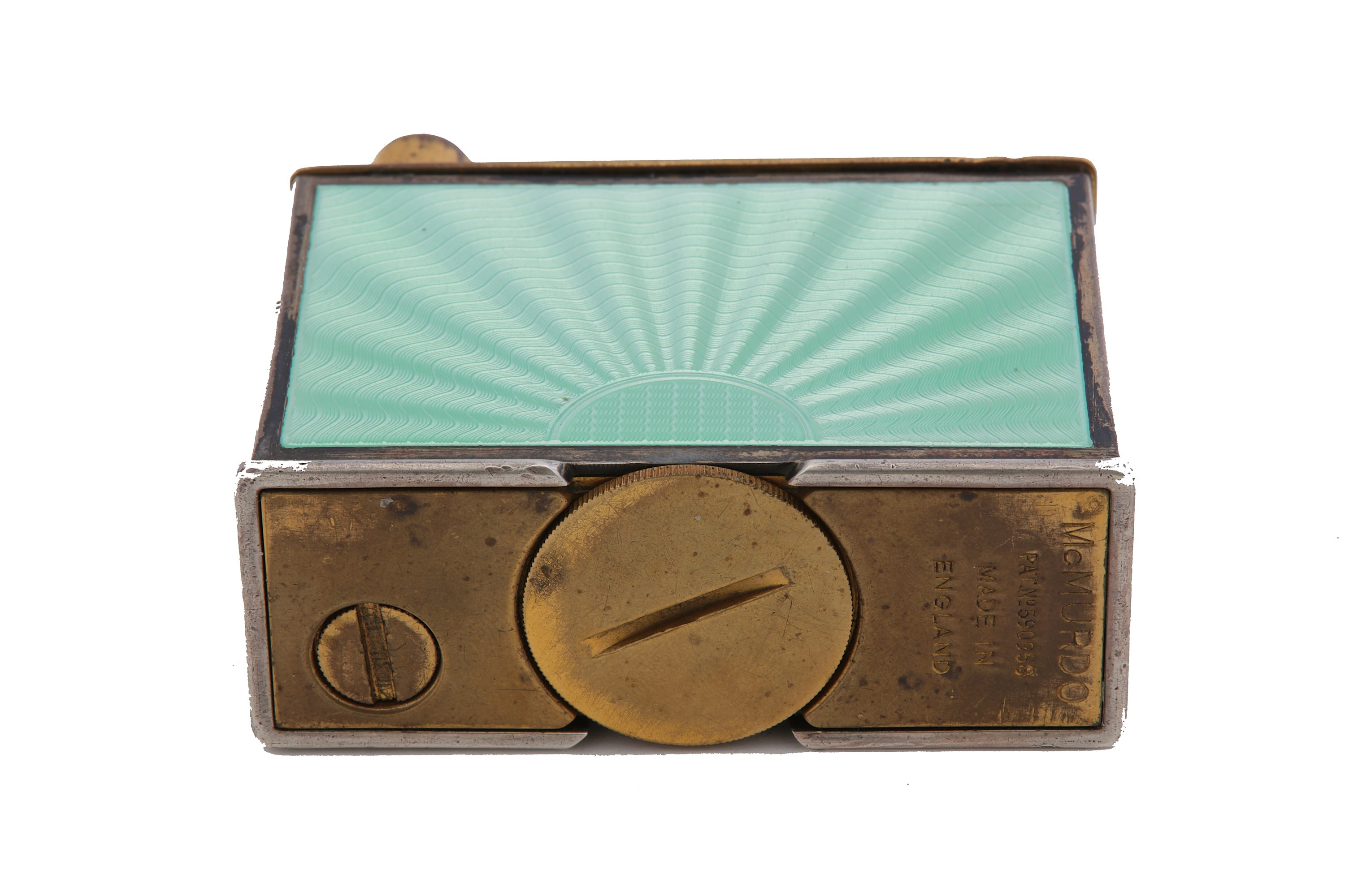 Lot 7 - A George VI sterling silver and guilloche enamel Mc Murdo table lighter Birmingham 1947 by Alexander