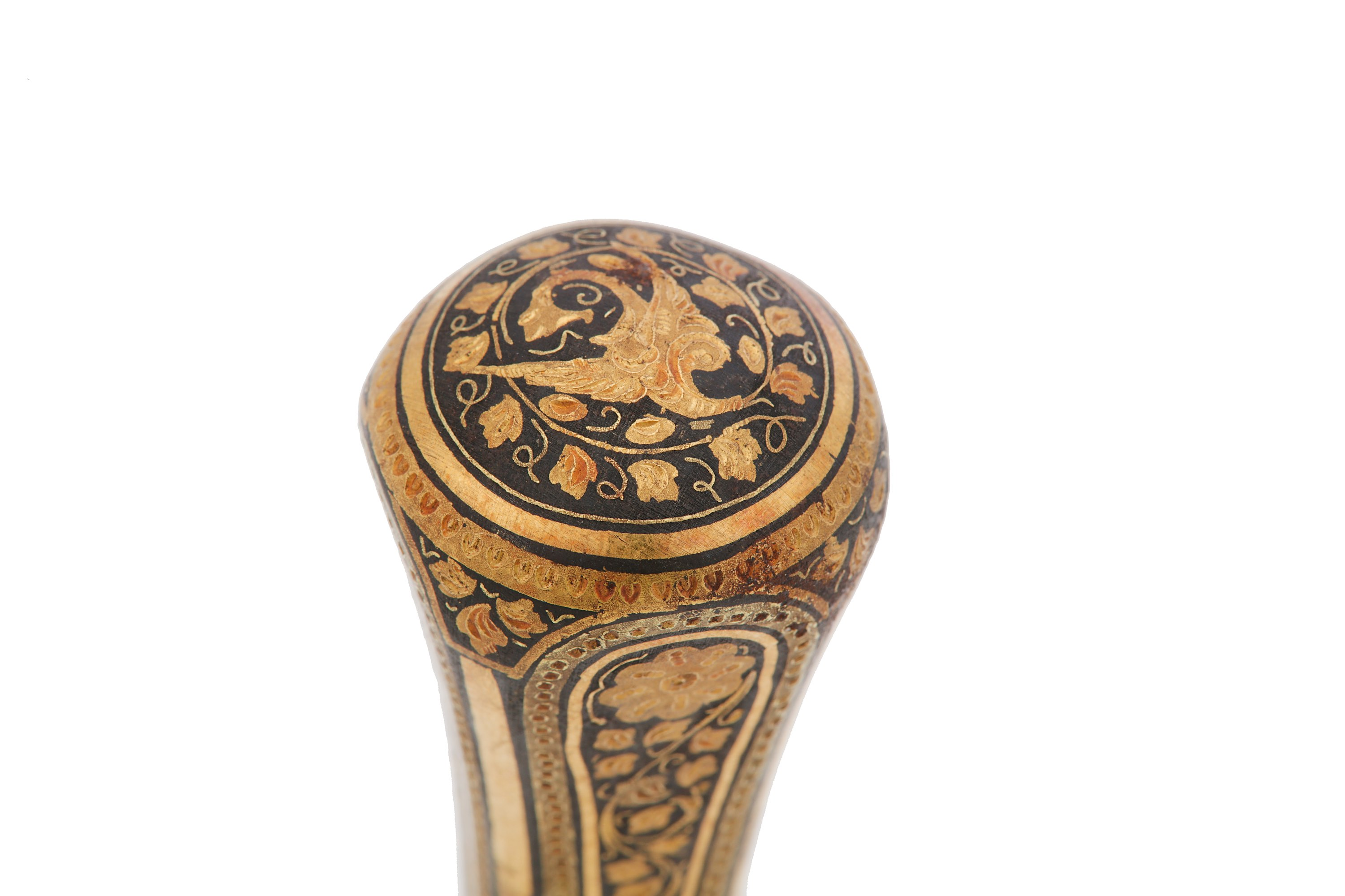 Lot 36 - Two Damascened iron and gold inlay walking cane handles, probably 19th century Middle eastern