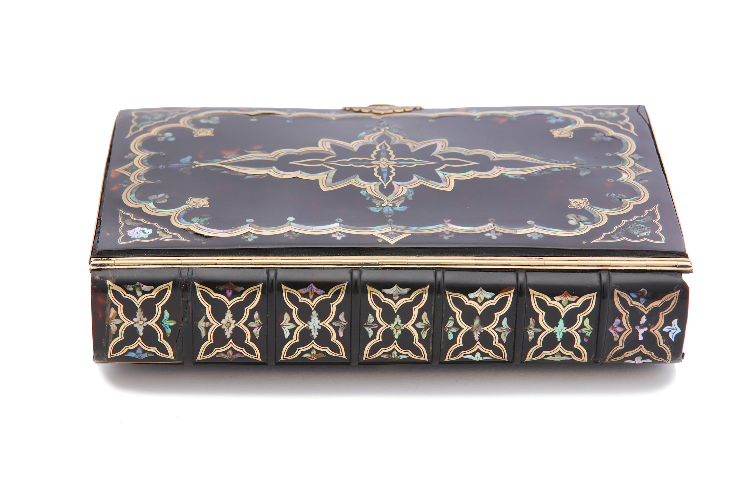 Lot 23 - An early to mid-18th century gold and abalone shell inlaid tortoiseshell bible binding, probably Eng