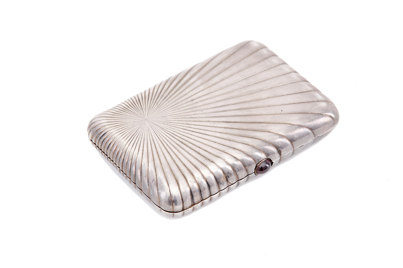 Lot 42 - A Russian imperial 84 Zolotnik silver cigarette case 1896-1908, maker's mark иA