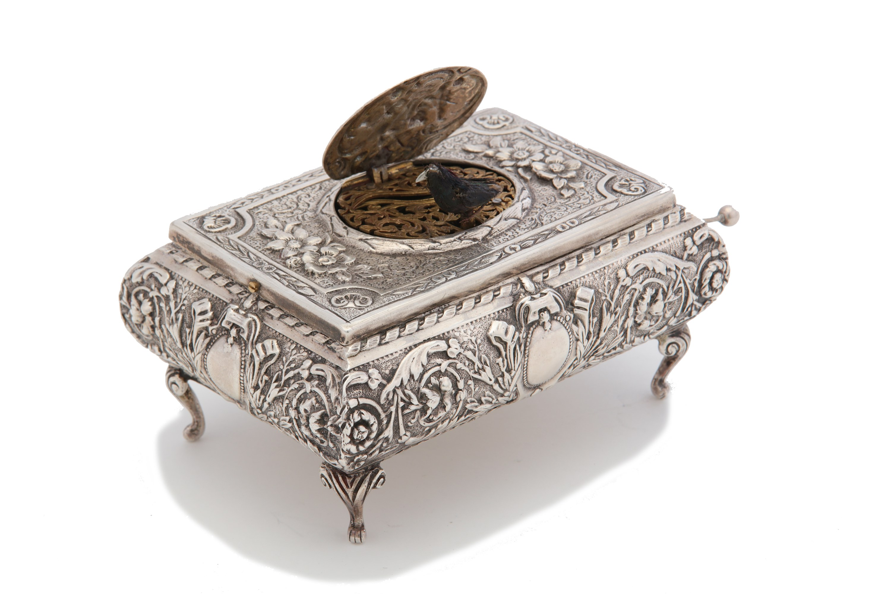 Lot 28 - An early 20th century sterling silver singing bird box, by Karl Griesbaum circa 1920