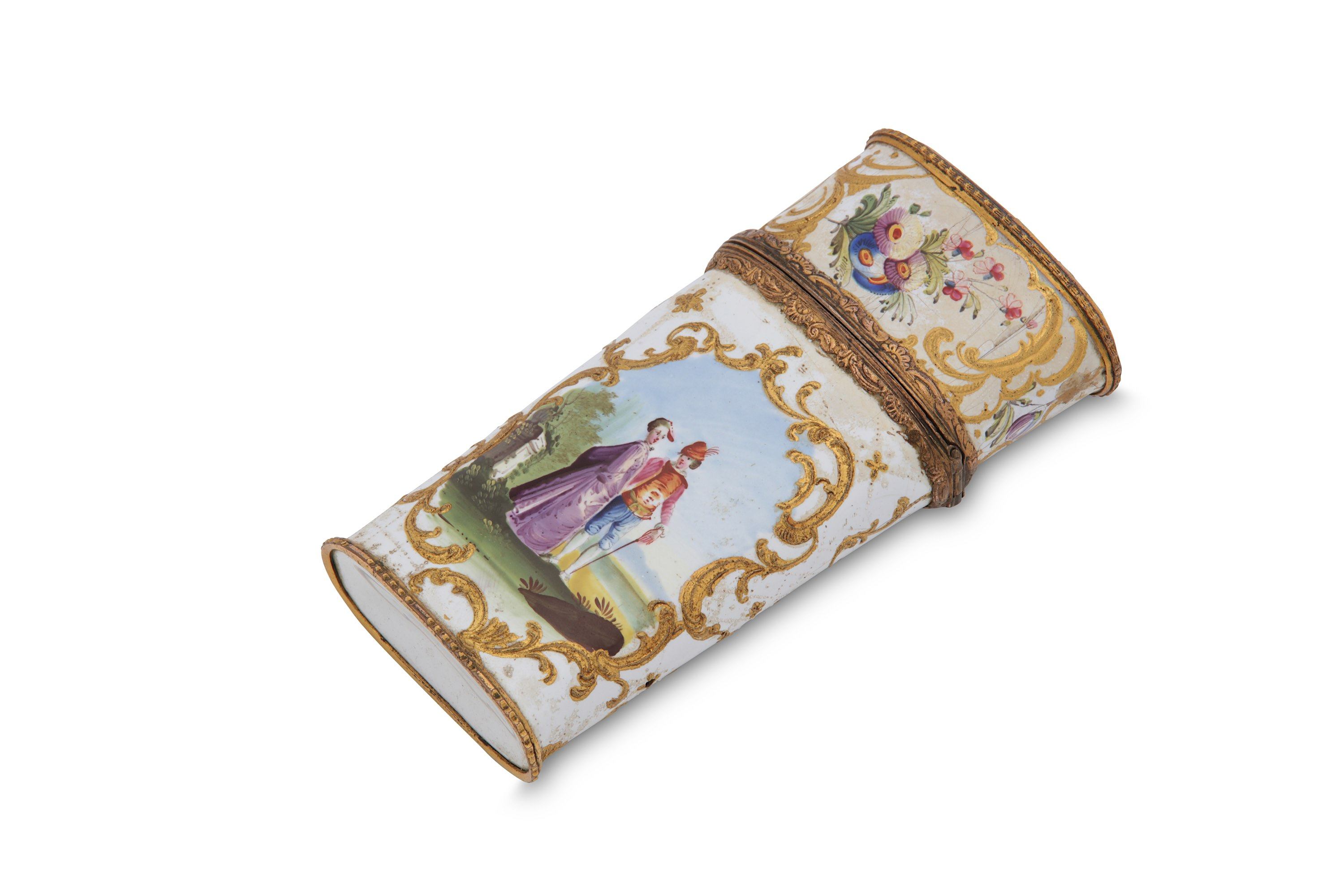 Lot 13 - A mid to late 18th century English enamel etui, South Staffordshire circa 1760