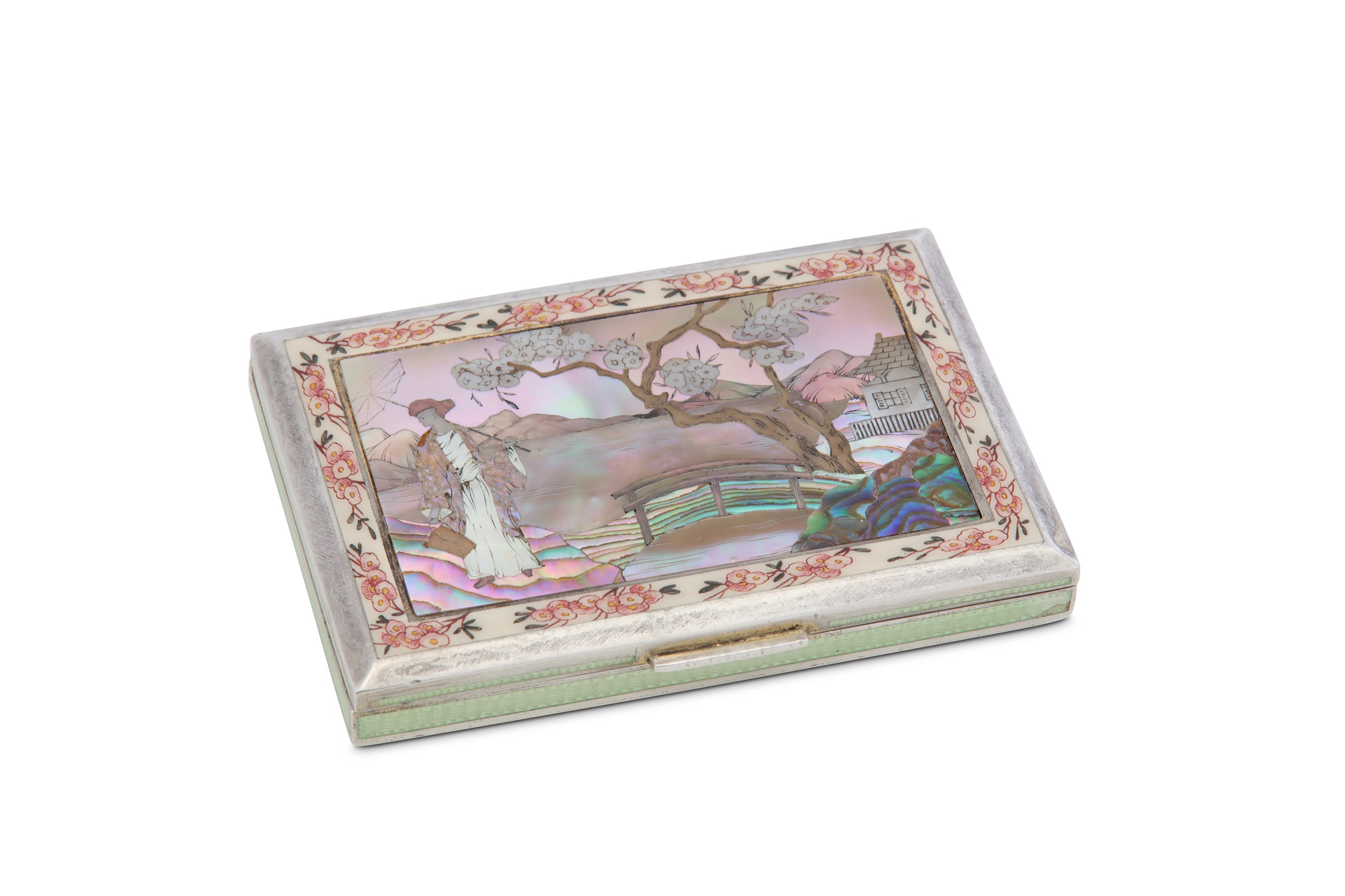 Lot 5 - An early 20th century Austrian 935 standard silver, enamel and abalone shell inlaid cigarette case,