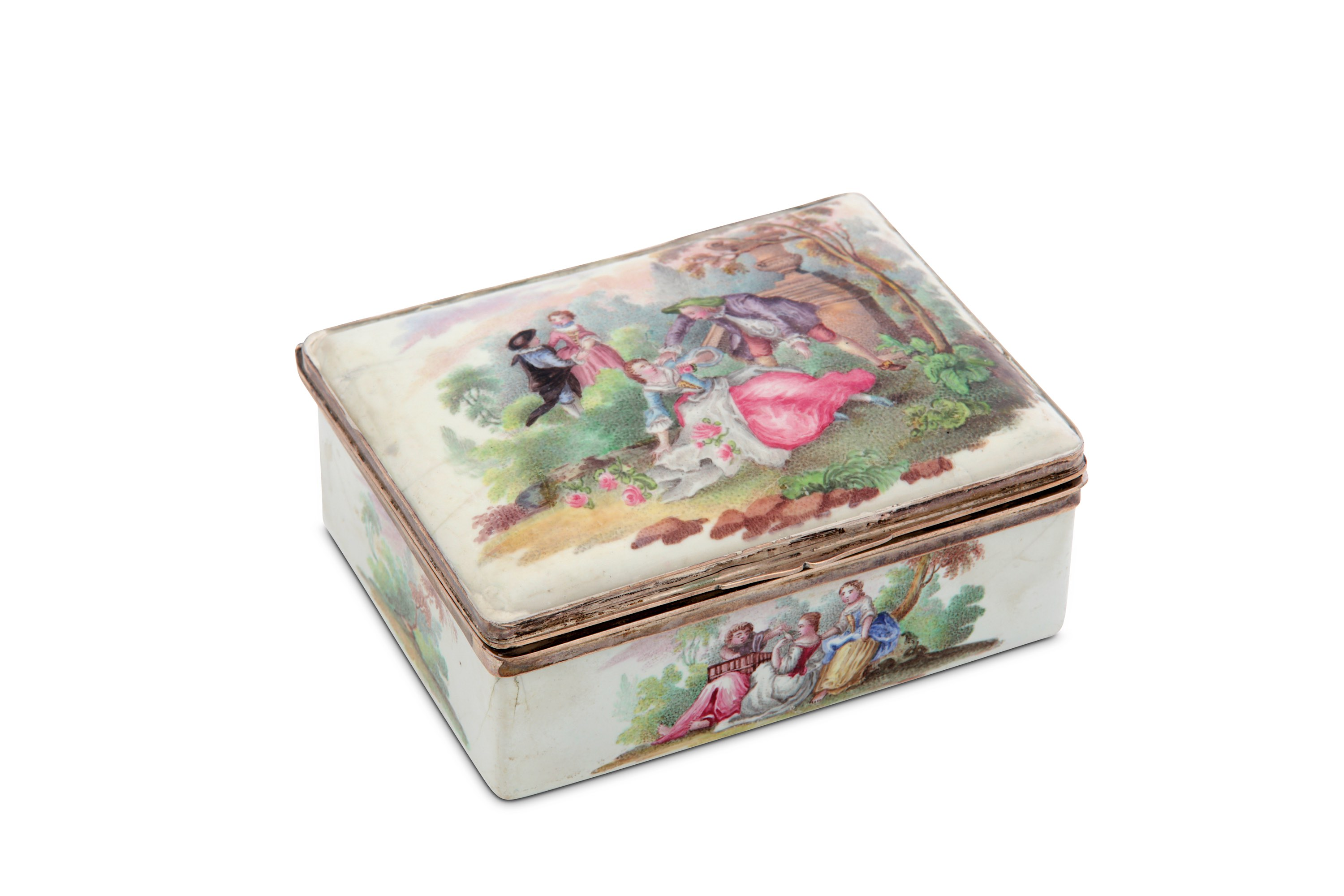 Lot 14 - A late 18th century Continental unmarked silver-mounted enamel snuff box, circa 1780