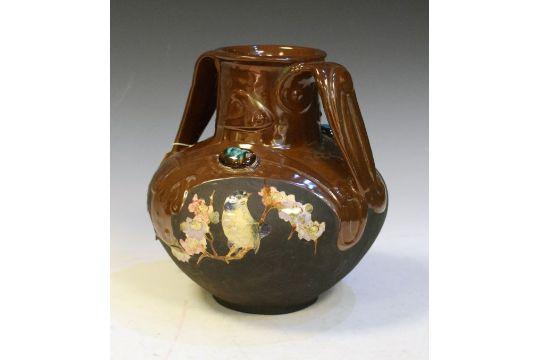 Bretby Art Nouveau Pottery Vase Of Baluster Form Having Relief