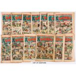 Dandy (1942) 205-230 Xmas. Complete year published fortnightly with first appearances of Peter