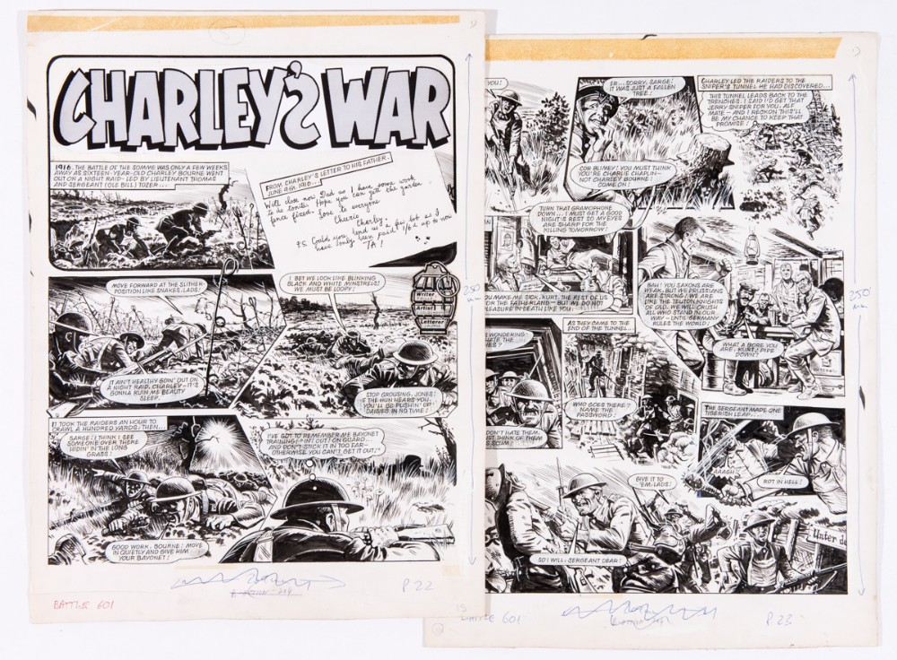 Charley's War two original artworks by Joe Colquhoun from Battle 601 (1980). '1916. The battle of