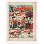 Dandy No 10 (1938). Good colours, two overhang edges have tears and grubbiness. Cream/light tan