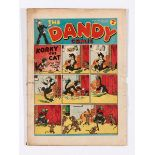 Dandy No 9 (1938). Good colours, one inch horizontal spine tear, thumb size piece missing from RH