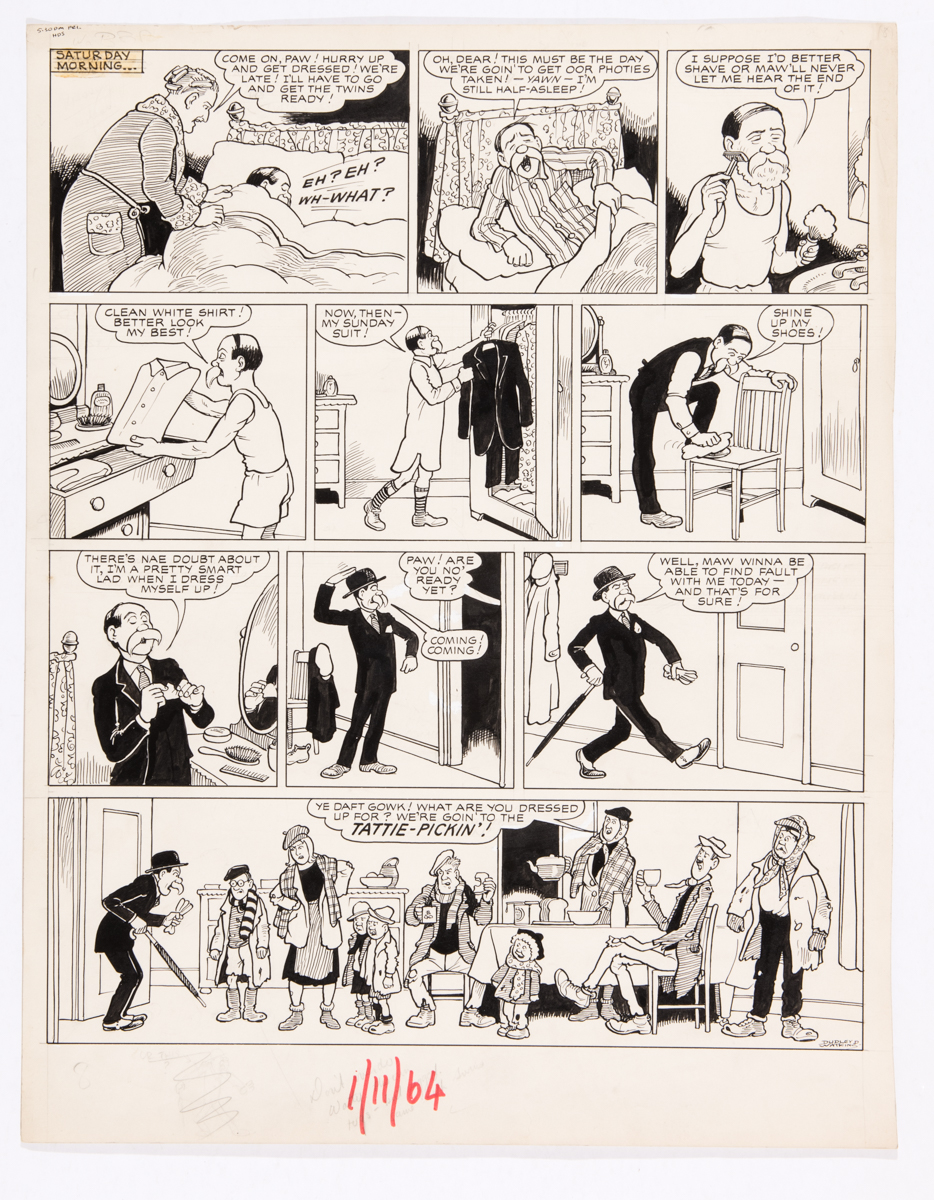 Broons original artwork (1964) drawn and signed by Dudley Watkins for the Sunday Post 1 November
