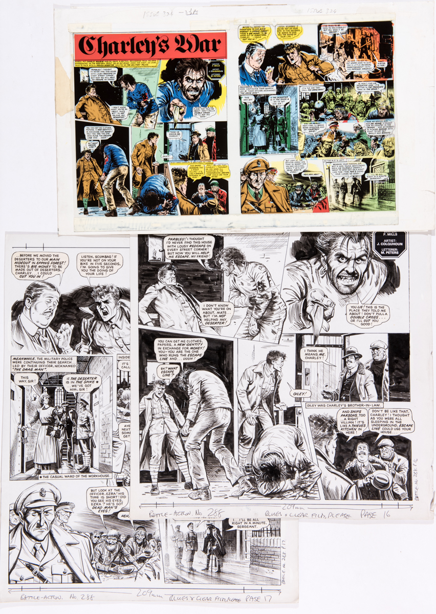 Charley's War two original artworks by Joe Colquhoun from Battle Action No 288 (1984) with printer's
