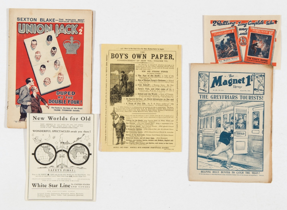 Lot 8 - Union Jack 1234 (1927). With White Star Line Visit America pamphlet, Boy's Own Paper pamphlet (