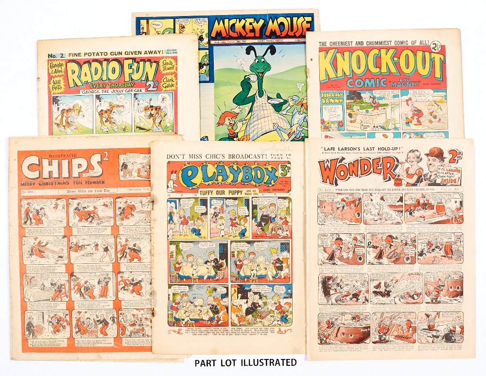 Lot 30 - Radio Fun 2 (1938) [vg], Knockout 120 (1941) two small punch holes to spine [vg], Mickey Mouse 28/