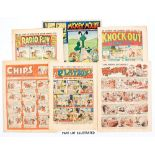 Radio Fun 2 (1938) [vg], Knockout 120 (1941) two small punch holes to spine [vg], Mickey Mouse 28/
