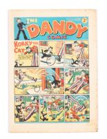 Lot 42 - Dandy 54 (1938). Bright cover with four 1 ins margin tears, cream pages [vg]
