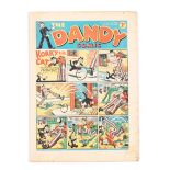 Dandy 54 (1938). Bright cover with four 1 ins margin tears, cream pages [vg]