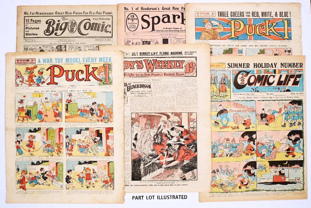 Lot 9 - Propaganda WWI issues (1914-18). Sparks No 1, Big Comic Nos 1-3, 140, 153, 211-213, Boy's Weekly