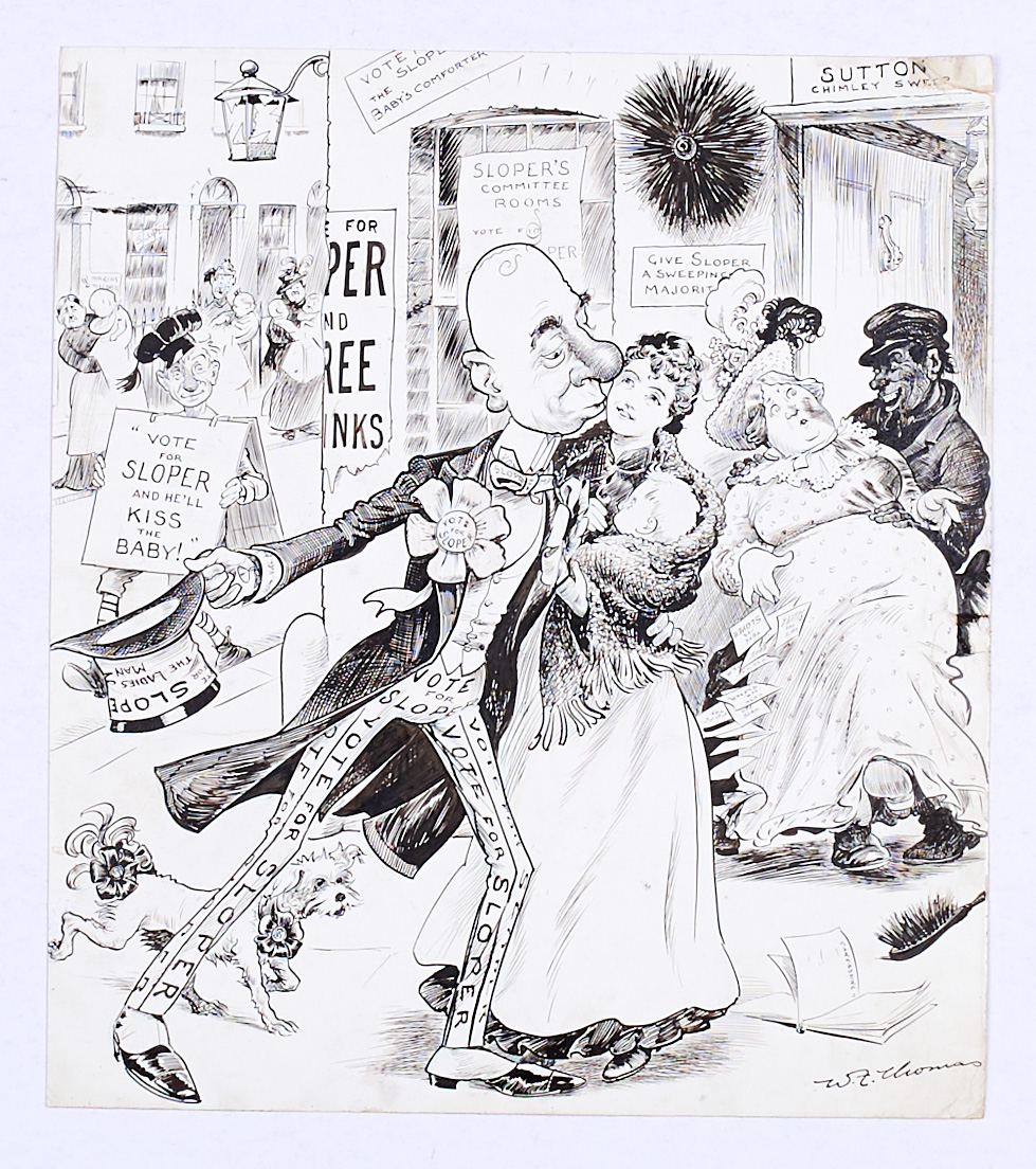 Lot 3 - Ally Sloper original artwork (1900) drawn and signed by W.F. Thomas Oct 20 1900. 'Vote For