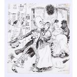 Ally Sloper original artwork (1900) drawn and signed by W.F. Thomas Oct 20 1900. 'Vote For