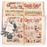 Comic Cuts (Jul-Dec 1942) 2692-2705 with (Jan-Sept 1953) 2970-3006 last issue. In 3 bound volumes