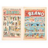 Beano 327 (1948) First appearance of Biffo the Bear by Dudley Watkins with No 753 Xmas (1956) [vg/