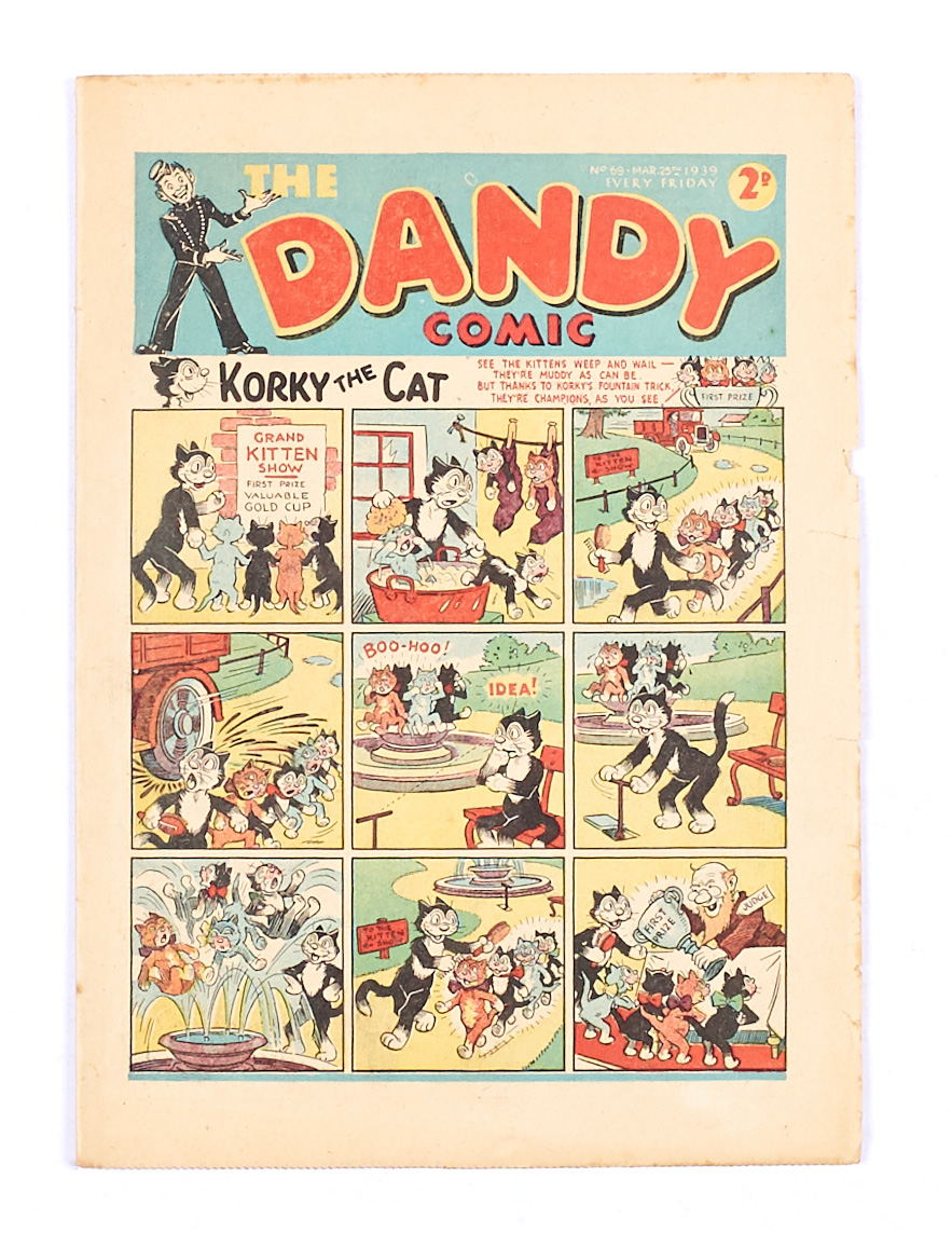 Lot 43 - Dandy 69 (1939). Bright cover with some minor overhang wear. Off-white to cream pages, some back
