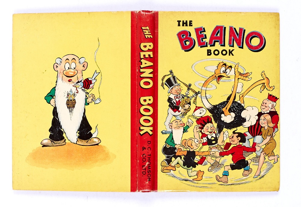 Lot 36 - Beano Book 3 (1942) Big Eggo in a spin! Bright boards and spine, neat pencil dedication, cream pages