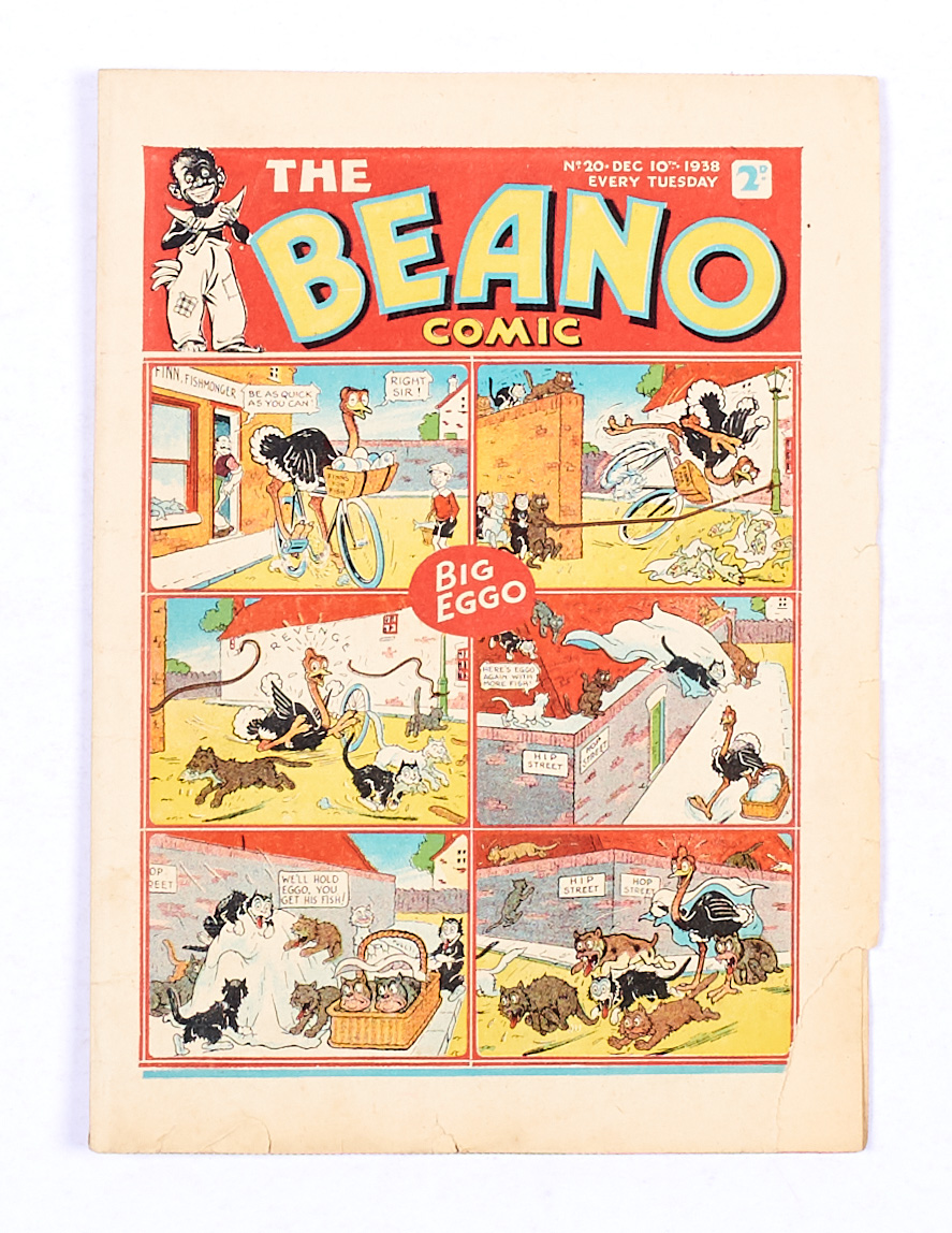 Lot 34 - Beano 20 (1938). Bright cover with lower margin piece missing and crumpled lower edge. Clean,