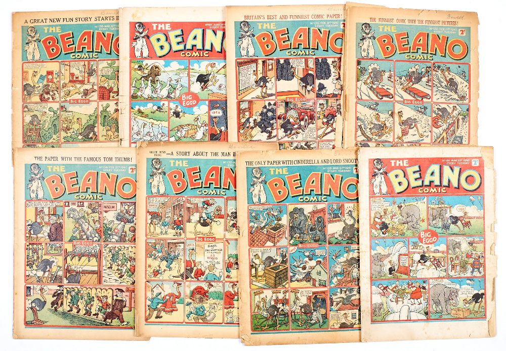 Lot 35 - Beano (1940-41) 84, 101, 132-134, 137-139. Propaganda war issues. Well worn complete copies, some