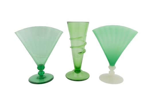 Three Steuben Vases L To R Pomona Green Fan Vase 6287 Ht 12