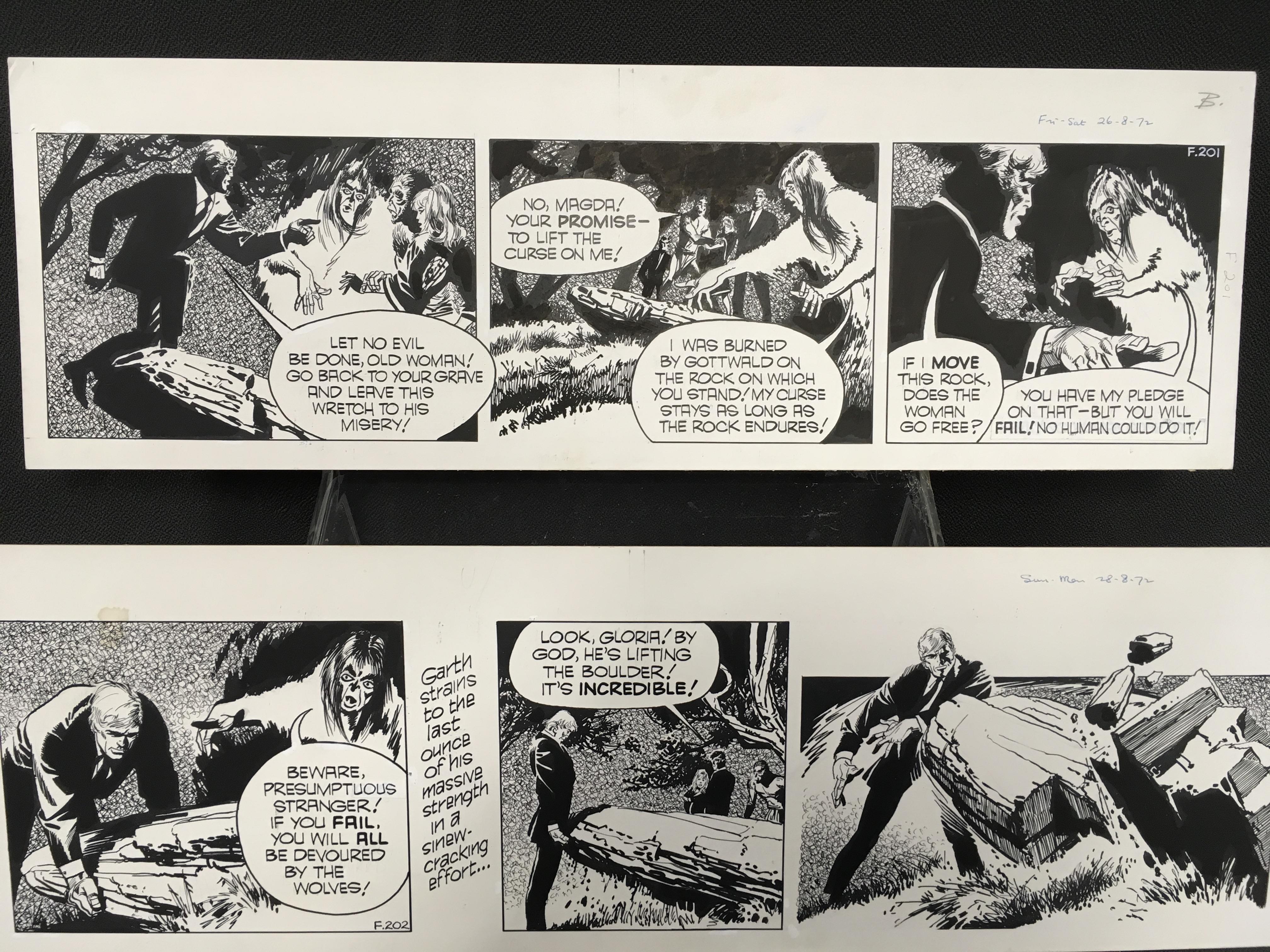 Lot 431 - Original Frank Bellamy Garth artwork, c.1972: two pieces of pen on board artwork by British comic