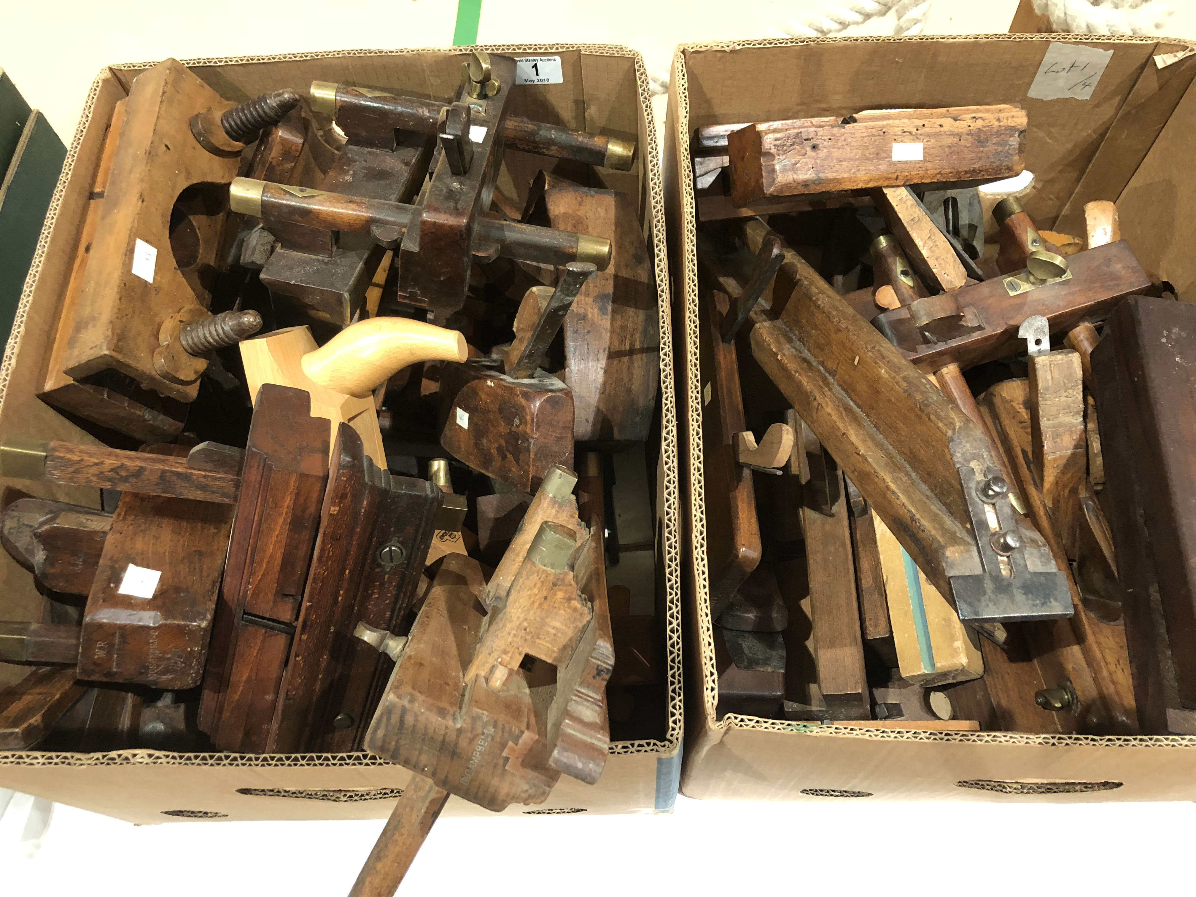 Lot 1 - 4 boxes of wood planes and tools